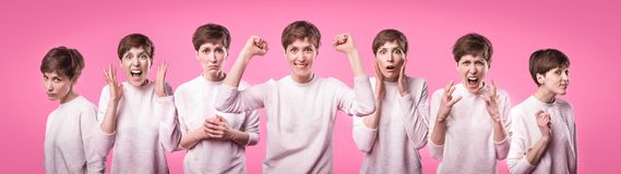 Collage with different emotions in one beautiful young woman dressed in white sweater. Attractive female expresses surprise, fear and joy over pink background royalty free stock photography