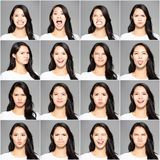 different emotions in same young woman royalty free stock image