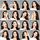 Collage with different emotions in same young woman royalty free stock photos