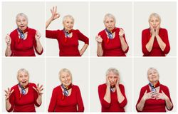 The collage from different emotions of senior woman. Old Woman with surprised expression on her face on white studio background. Human emotions concept Stock Photos