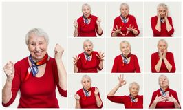 The collage from different emotions of senior woman. Old Woman with surprised expression on her face on white studio background. Human emotions concept Stock Photo