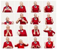 The collage from different emotions of senior woman. Old Woman with surprised expression on her face on white studio background. Human emotions concept Stock Photography