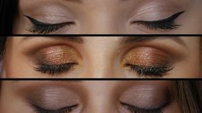 Collage of different eyes. Background collage of different eyes closeup. Diverse young women with professional makeup looks straight into the frame and closes stock video footage