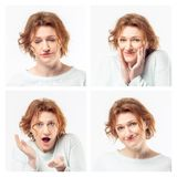 Collage of the same adult woman making different expressions. Studio shot. royalty free stock photography