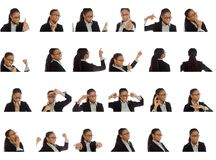 Collage of different facial expressions royalty free stock image
