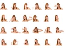 Collage of different facial expressions Royalty Free Stock Images