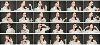 Collage of different facial expressions Royalty Free Stock Photo