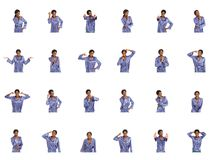 Collage of different facial expressions Royalty Free Stock Photos