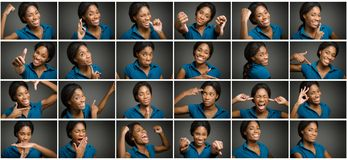 Collage of different facial expressions Stock Photos