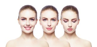 Collage of different female portraits. Spa, face lifting, plastic surgery concept. Stock Images