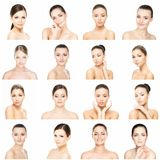 Collage of different female portraits. Spa, face lifting, plastic surgery concept. Royalty Free Stock Photography