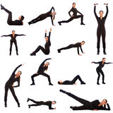 Collage of different fitness exercises. On white background stock photography