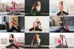 Collage of young women doing fitness workout. Collage of different fitness exercises. Slim women practicing yoga in various poses at gym. Active, healthy stock image