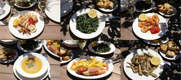 Collage of different five seafood dishes, one greens salad of delicious greek cuisine, healthy Mediterranean lunch concept. stock photography