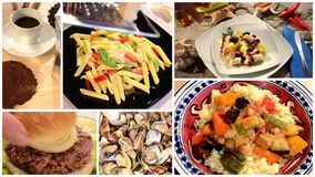A collage of different food dishes. Composition
