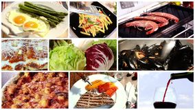 A collage of different food dishes. Various food recipes such as grilled steak, asparagus bismarck style, italian pasta with peppers and others stock video footage