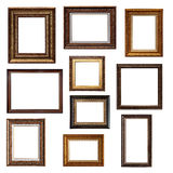 Collage of different frames isolated. Set of picture frames. Collage of different canvas painting frames isolated on white background stock photo