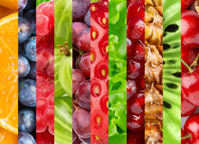 Collage with different fruits and berries Royalty Free Stock Image