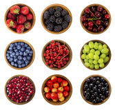 Collage of different fruits and berries isolated on white. Blueb Royalty Free Stock Image