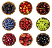 Collage of different fruits and berries isolated on white Stock Photography