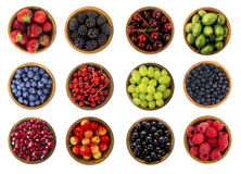 Collage of different fruits and berries isolated on white Stock Photo