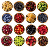 Collage of different fruits and berries isolated on white. Raspberries, blackberries, cherries, gooseberries, blueberries, currants, apricots, blueberries Stock Photo