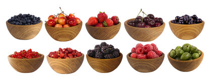 Collage of different fruits and berries isolated on white. Set of strawberries, raspberries, currants, blackberries, gooseberries and cherries. Sweet and juicy royalty free stock image