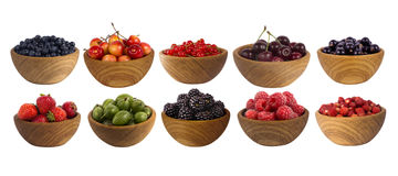 Collage of different fruits and berries isolated on white. Set of strawberries, raspberries, currants, blackberries, gooseberries, bilberries and cherries Royalty Free Stock Photos