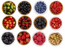 Collage of different fruits and berries isolated on white. Stock Photography