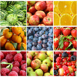 Collage different fruits closeup. And berries royalty free stock photo