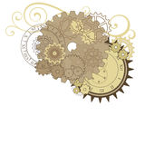 Collage with different gears, dials and swirls. Royalty Free Stock Photos