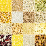Collage of different grains and seeds for a healthy diet stock photo