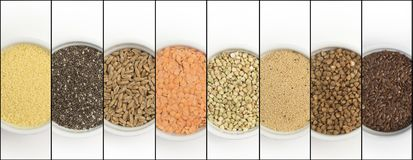 Collage of different groats on white background. Top view of buckwheat, chia, flax, amaranth, lentils, couscous, wheat. In bowls stock images