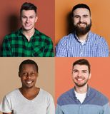 Diverse young men positive emotions set royalty free stock photography