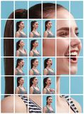 The collage of different human facial expressions, emotions and feelings. Stock Photo