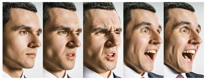The collage of different human facial expressions, emotions and feelings. The collage of different human facial expressions, emotions and feelings of young man stock images