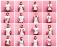 The collage of different human facial expressions, emotions and feelings. Royalty Free Stock Image