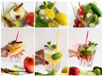Collage of different images of detox water. Apple, strawberry, cucumber, lemon, mint, cinnamon. Stock Image