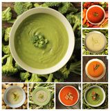 Collage with different kind of soups Royalty Free Stock Photos