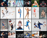 Collage about different kind of sports royalty free stock photos