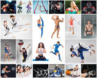 Collage about different kind of sports stock photos