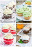 Collage with different kinds of cupcakes royalty free stock image
