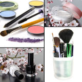 Collage of different makeup stock images