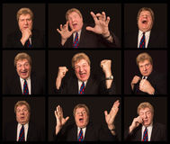 The collage from different male face expressions Stock Photo