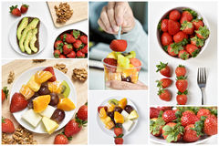 Collage of different meals made with fruits Royalty Free Stock Image