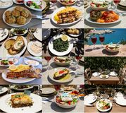 Collage of different meat and vegetables dishes of delicious greek cuisine, tasty greek summer holidays concept. stock photo