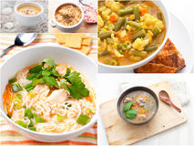 Collage with different meat and vegetables soups Royalty Free Stock Photography