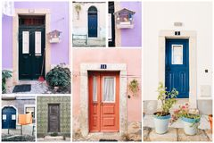 Collage of different old house entrances. Collage of different old colrful house entrances in Portugal Royalty Free Stock Photos