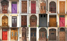 Collage of different ornate vintage doors. Collage of different ornate vintage wooden doors stock photos