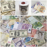 Collage of different paper currencies Stock Images